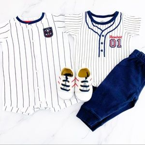 Baseball Themed Toddler Boy Outfits & Shoes Sz 6M
